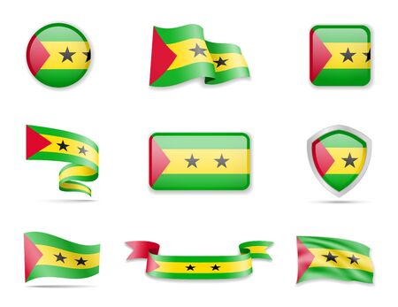Sao Tome and Principe flags collection. Flags and outline of the country vector illustration set