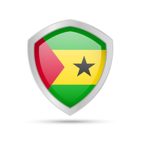 Shield with Sao Tome and Principe flag on white background. Vector illustration. Ilustração