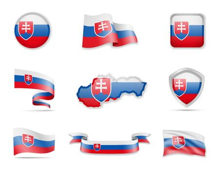 Slovakia flags collection. Flags and outline of the country vector illustration set