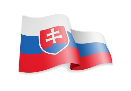 Slovakia flag in the wind. Flag on white background vector illustration