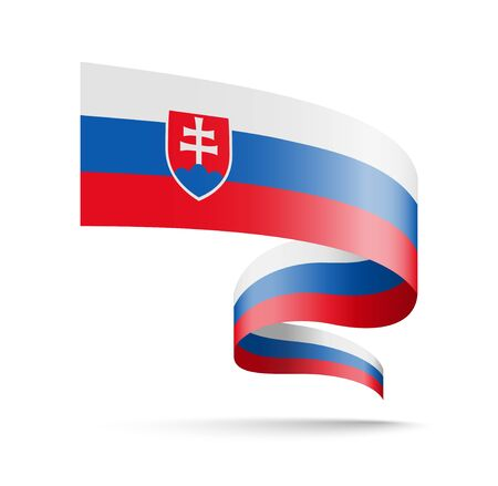Slovakia flag in the form of wave ribbon vector illustration on white background.