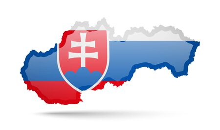 Slovakia flag and outline of the country on a white background. Vector illustration. Ilustração