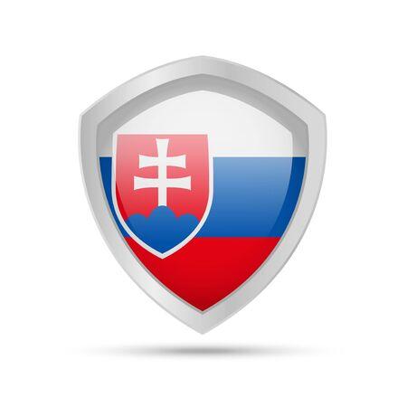 Shield with Slovakia flag on white background. Vector illustration. Ilustração