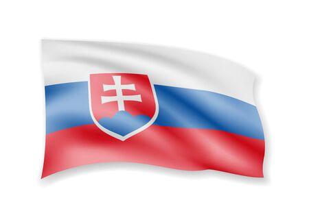 Waving Slovakia flag on white. Flag in the wind vector illustration. Ilustrace