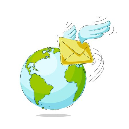 Mail envelope with wings on a background of the globe. Vector illustration
