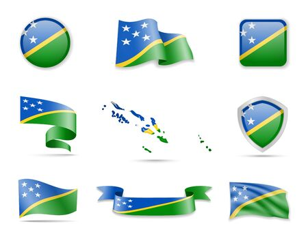 Solomon Islands Flags Collection. Flags and contour map. Vector illustration 일러스트