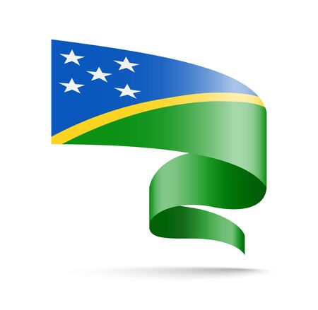 Solomon Islands flag in the form of wave ribbon. Vector illustration on white background.