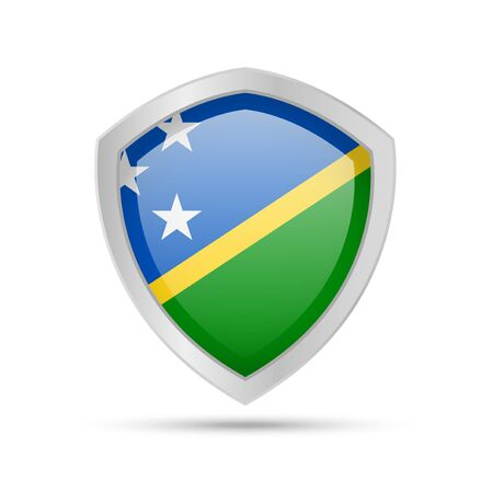 Shield with Solomon Islands flag on white background. Vector illustration.
