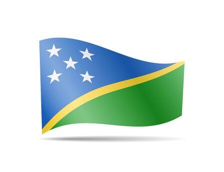 Waving Solomon Islands Flag on white. Flag in the Wind. Vector illustration.