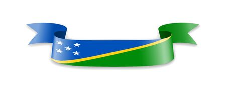 Solomon Islands flag in the form of wave ribbon. Vector illustration.
