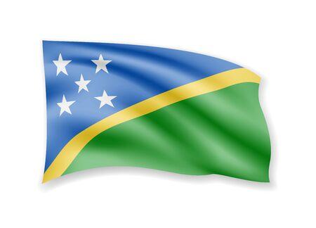 Waving Solomon Islands flag on white. Flag in the wind. Vector illustration