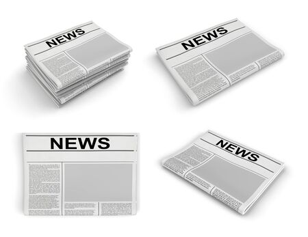 Newspaper collection on a white background. 3D rendering Banco de Imagens