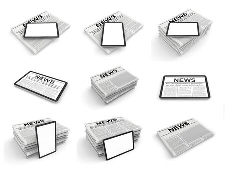 Digital news concept collection with business newspaper on tablet pc screen. 3D rendering set