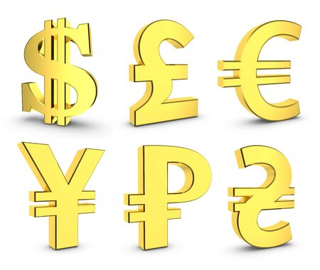 Finance icon currency gold button set. 3D rendering set