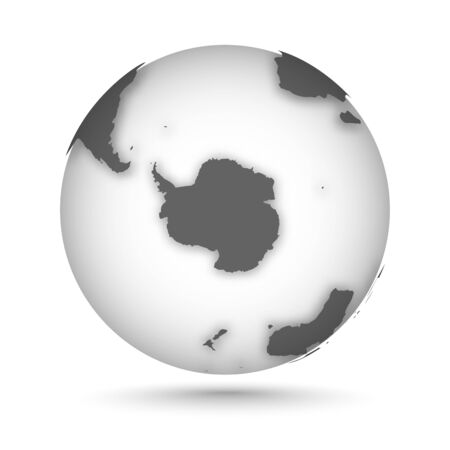 Globe icon gray on white with smooth vector shadow and map of the continents in the south hemisphere. Antarctica continent. Vector illustration