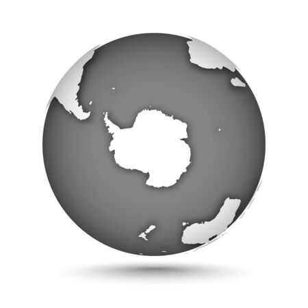 Globe icon gray on white with smooth vector shadow and map of the continents in the south hemisphere. Antarctica continent. White continent and gray water. Vector illustration Illusztráció