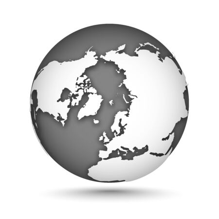 Globe set gray and white, vector icons Earth with outline continents. White continent and gray water. North Pole. Vector illustration