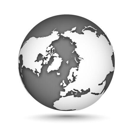 Globus gesetzt grau und weiß, Vektorsymbole Erde mit Umrisskontinenten. Weißer Kontinent und graues Wasser. Nordpol. Vektor-Illustration