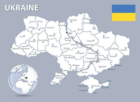 Detailed map of Ukraine with the flag of the country and location on the globe. Vector illustration