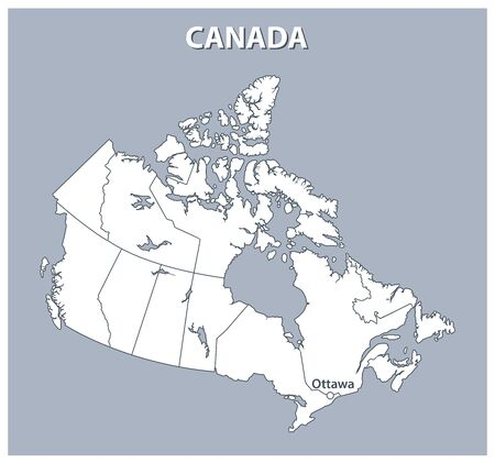 Map of Canada, detailed outline of the country on a gray background. Vector illustration