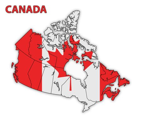 Detailed map of Canada with country flag and shadow. Vector illustration 일러스트