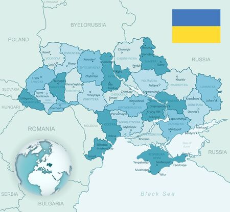 Blue-green detailed map of Ukraine and administrative divisions with country flag and location on the globe. Vector illustration