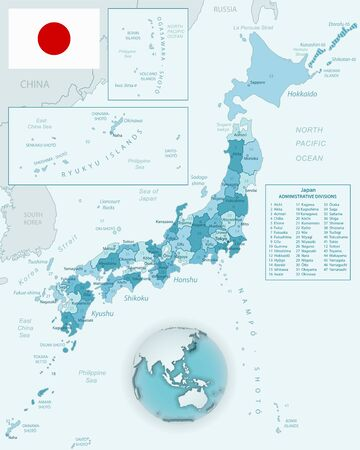 Blue-green detailed map of Japan and administrative divisions with country flag and location on the globe. Vector illustration