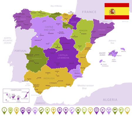Detailed map of Spain with flag, border of regions and country. Purple, yellow, green. Vector illustration