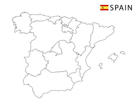 Spain map, black and white detailed outline regions of the country. Vector illustration