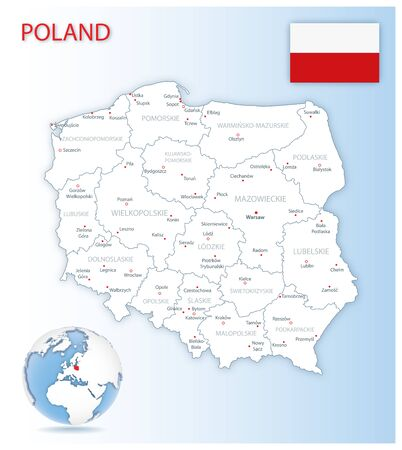 Detailed Poland administrative map with country flag and location on a blue globe. Vector illustration