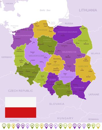Detailed map of Poland with flag, border of regions and country. Purple, yellow, green. Vector illustration Ilustração