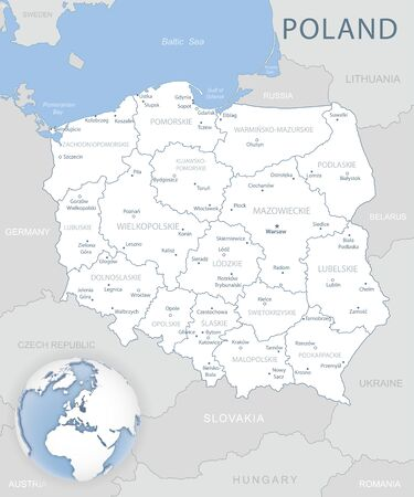 Blue-gray detailed map of Poland and administrative divisions and location on the globe. Vector illustration Ilustrace