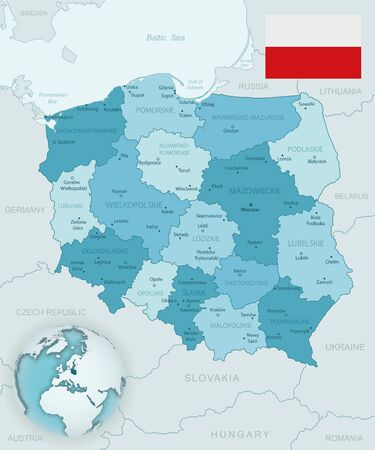 Blue-green detailed map of Poland and administrative divisions with country flag and location on the globe. Vector illustration