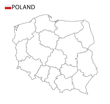 Poland map, black and white detailed outline regions of the country. Vector illustration