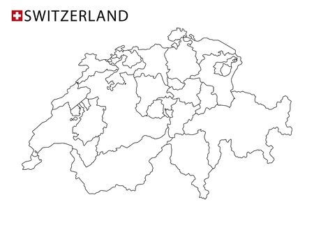 Switzerland map, black and white detailed outline regions of the country. Vector illustration