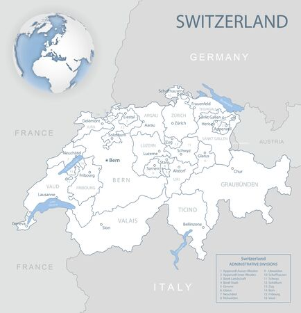 Blue-gray detailed map of Switzerland and administrative divisions and location on the globe. Vector illustration Ilustrace