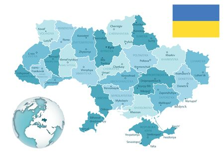 Ukraine administrative blue-green map with country flag and location on a globe. Vector illustration
