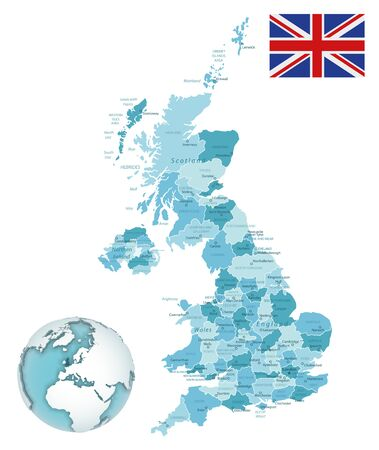 United Kingdom administrative blue-green map with country flag and location on a globe. Vector illustration