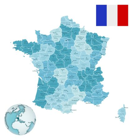 France administrative blue-green map with country flag and location on a globe. Vector illustration