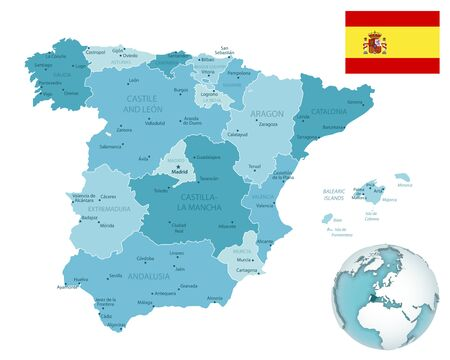 Spain administrative blue-green map with country flag and location on a globe. Vector illustration