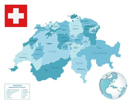 Switzerland administrative blue-green map with country flag and location on a globe. Vector illustration