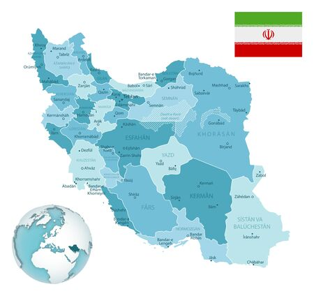 Iran administrative blue-green map with country flag and location on a globe. Vector illustration