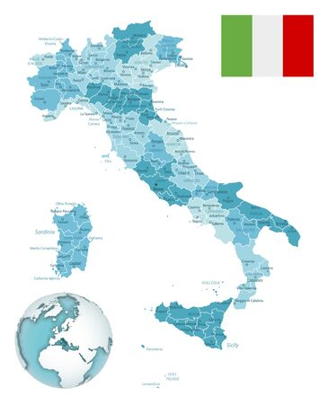 Italy administrative blue-green map with country flag and location on a globe. Vector illustration