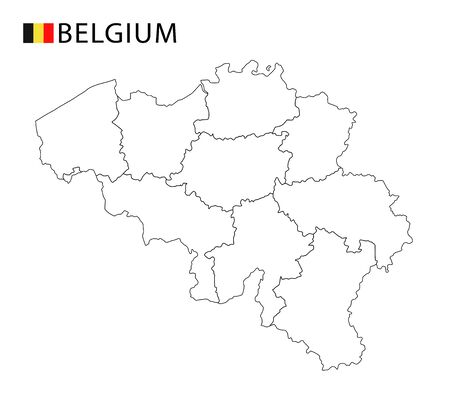 Belgium map, black and white detailed outline regions of the country. Vector illustration
