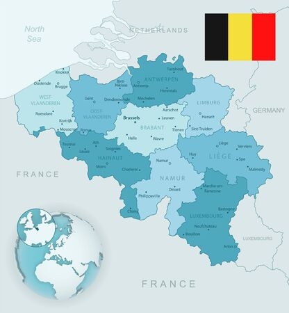Blue-green detailed map of Belgium and administrative divisions with country flag and location on the globe. Vector illustration Ilustrace