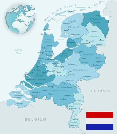 Blue-green detailed map of Netherlands and administrative divisions with country flag and location on the globe. Vector illustration