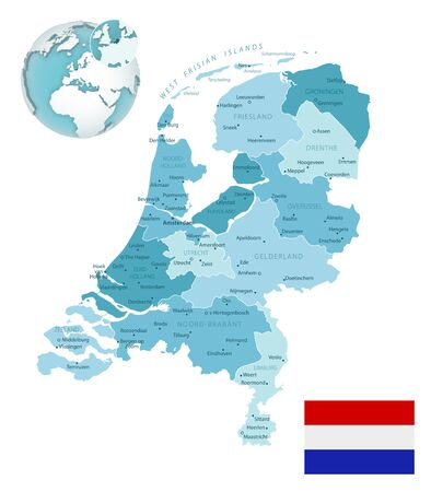 Netherlands administrative blue-green map with country flag and location on a globe. Vector illustration