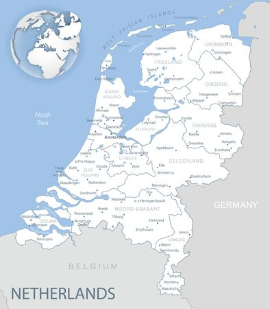 Blue-gray detailed map of Netherlands and administrative divisions and location on the globe. Vector illustration