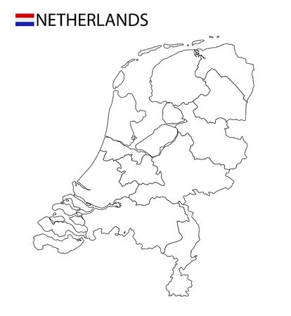 Netherlands map, black and white detailed outline regions of the country. Vector illustration