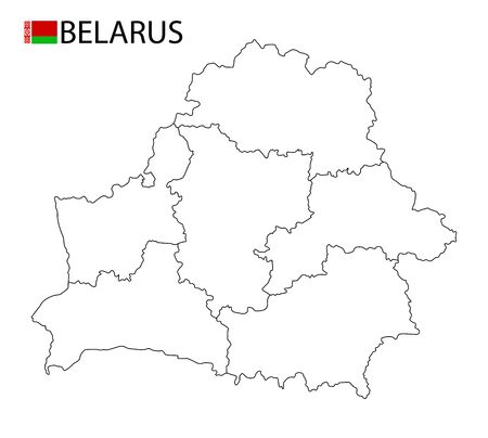 Belarus map, black and white detailed outline regions of the country. Vector illustration